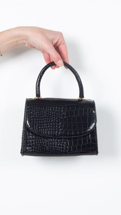 Black Vegan Leather Crocodile Mini Handbag With Cross Body Strap