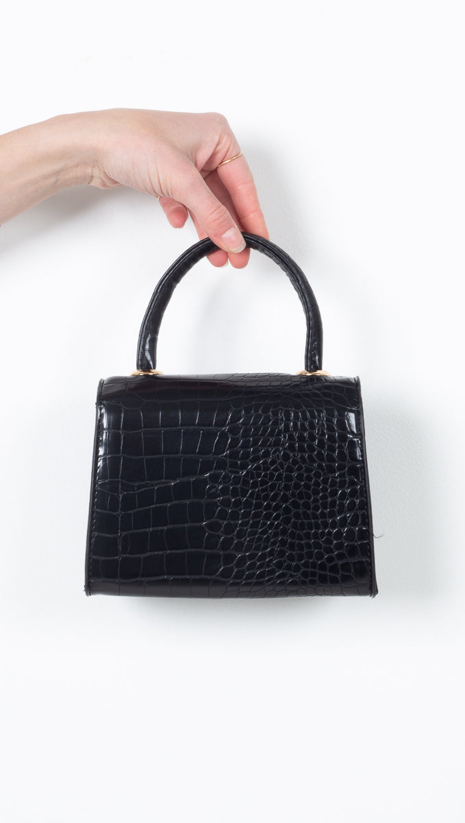 Cora Mini Croc Handbag - Black