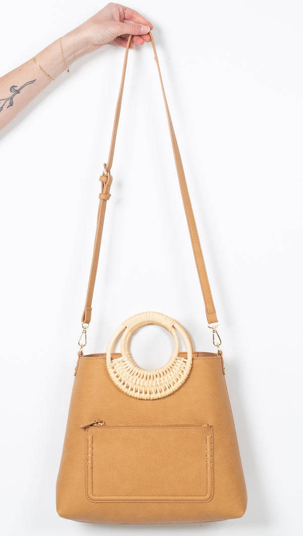 Tan Vegan Leather Bag With Wooden Handle and Crossbody Strap