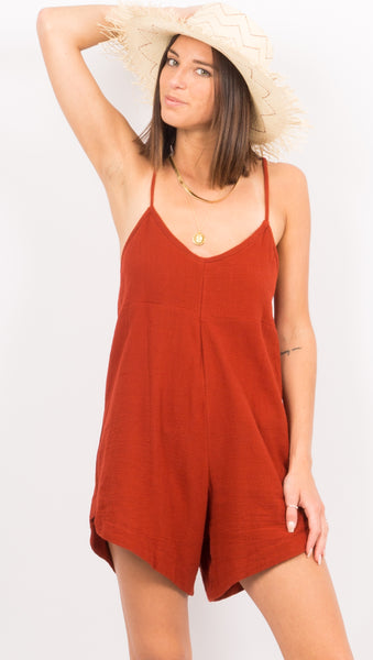 Candy Playsuit - Burnt Red
