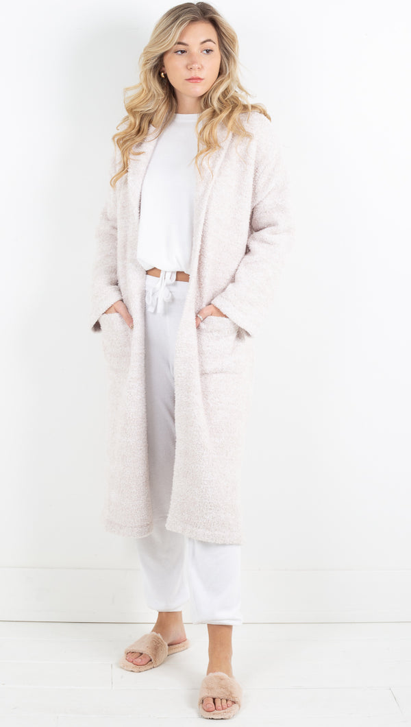 Cozychic Heathered Adult Robe - Stone White