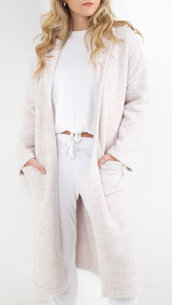 Barefoot Dreams white calf length soft robe