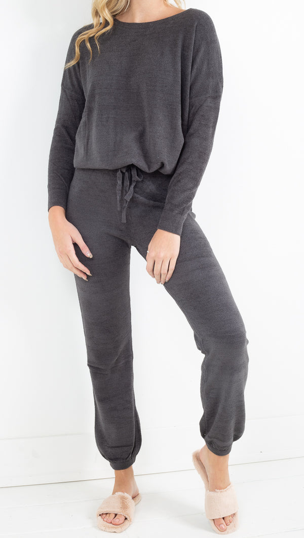 Barefoot Dreams dark grey slouchy sweat suit set