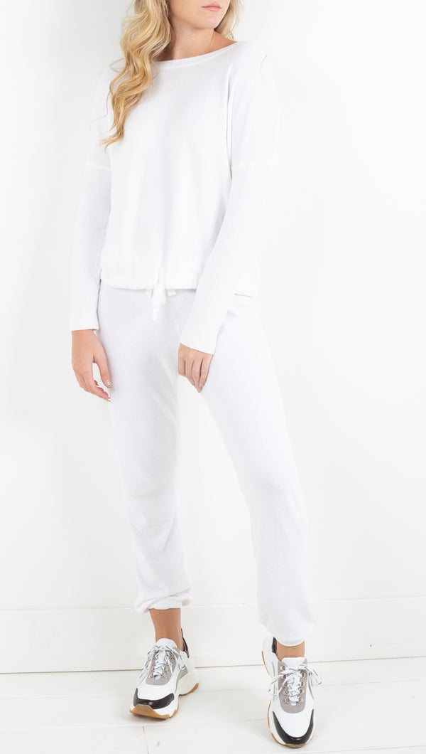 Barefoot Dreams white sweat suit set