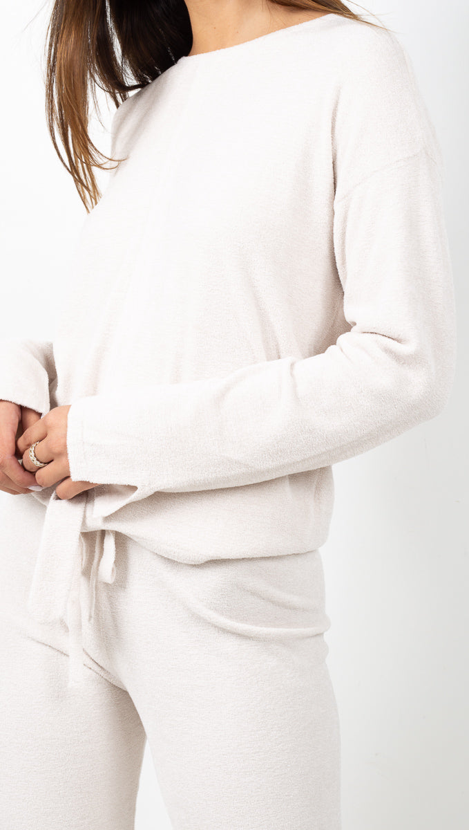 Barefoot Dreams Off White Plushy Soft Long Sleeve Top with Hemline Tie