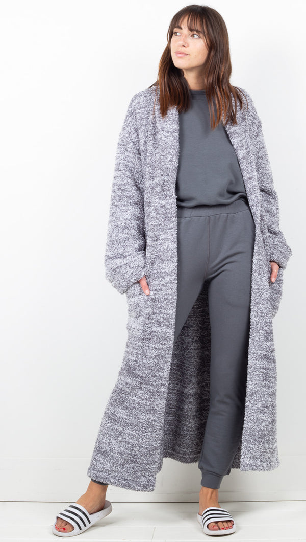 Cozychic Heathered Adult Robe - Graphite White