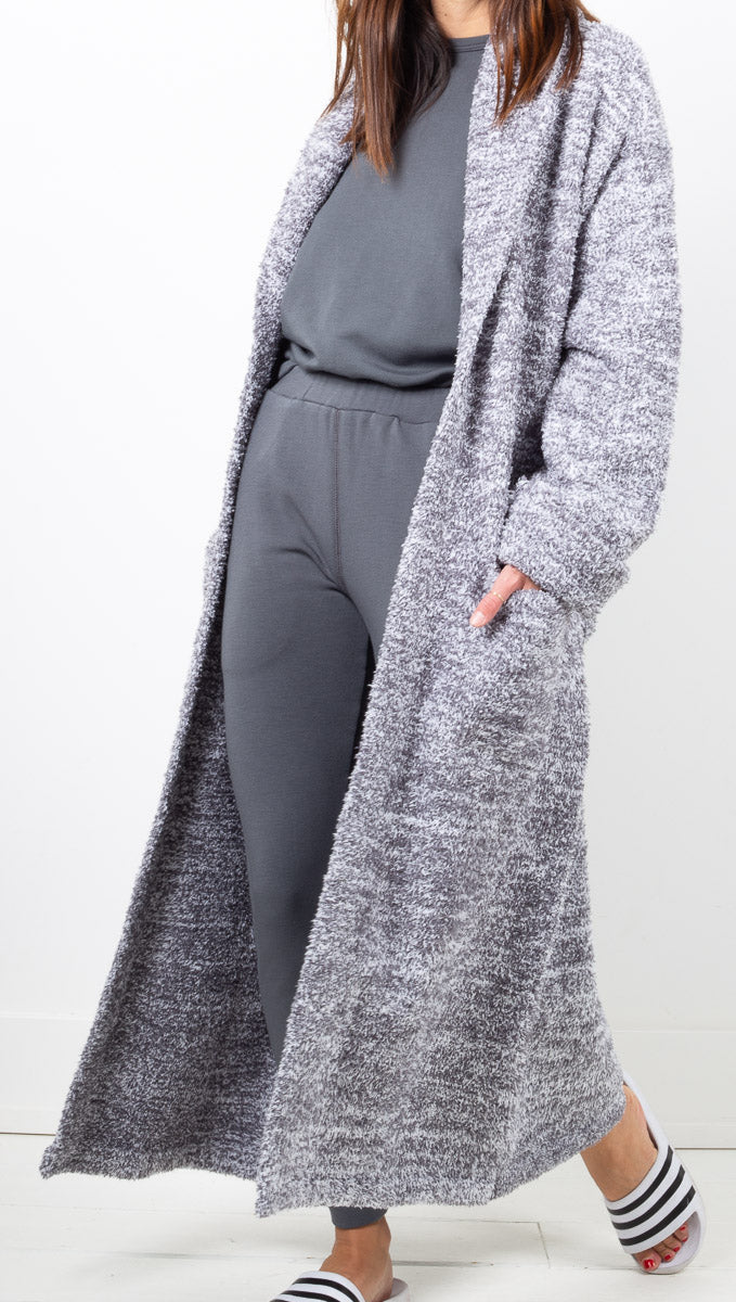 Barefoot Dreams Heathered Charcoal Grey Plush Robe