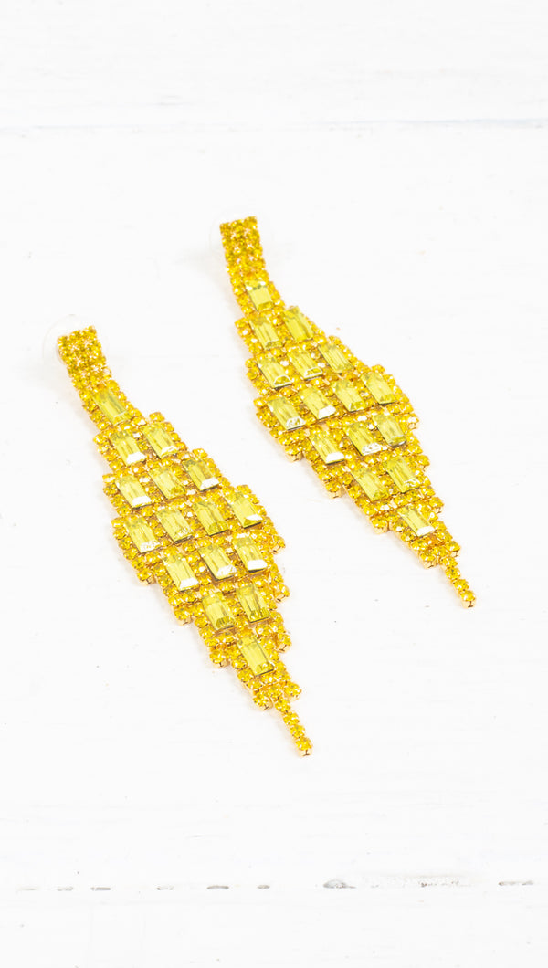 Belle Crystal Statement Earrings - Gold/Yellow