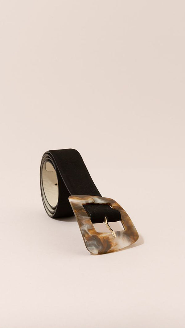 Mint And Rose Black Leather Belt with Tortoise Buckle