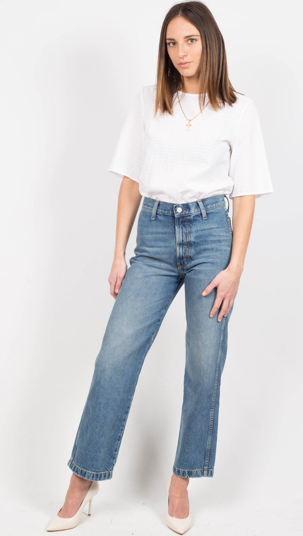 High Waist Straight Leg Blue Jeans