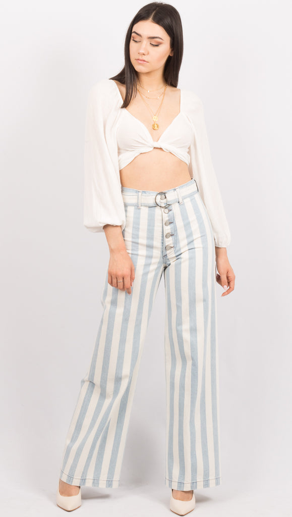 Blue/White Stripe High Waist Flare Leg Jeans