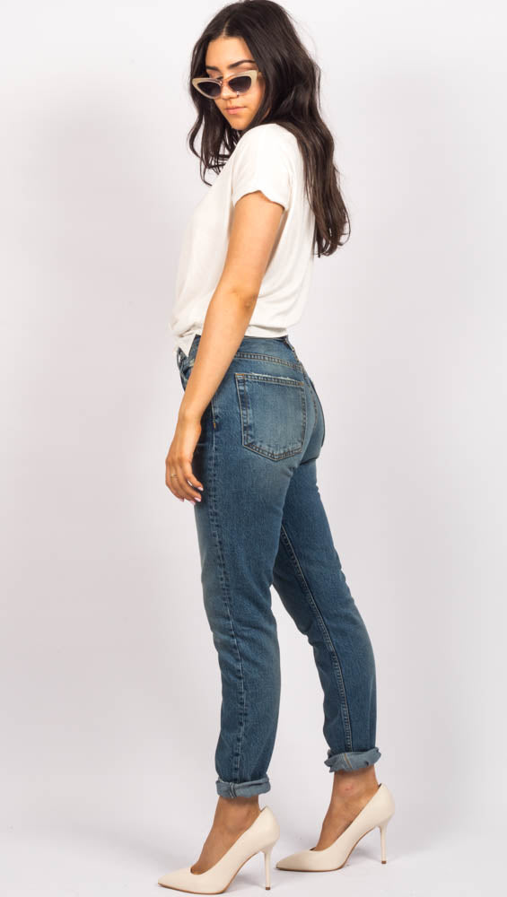 High Waist Blue Skinny Jeans