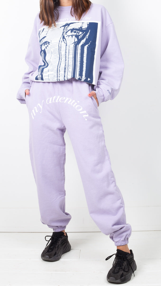 Boys Lie Light Purple High Rise Oversized Sweatpants With Front Graphic