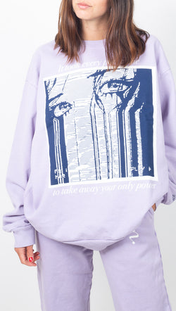 Boys Lie Light Purple Oversized Crewneck Sweatshirt With Front and Back Graphics