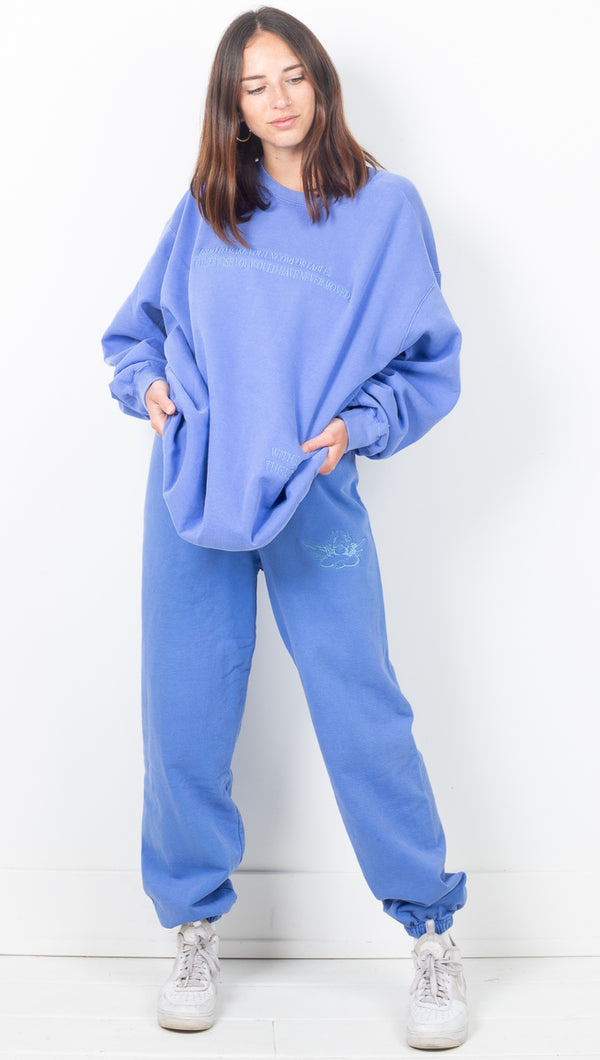 With Love Flo Blue Sweatpants - Decorated