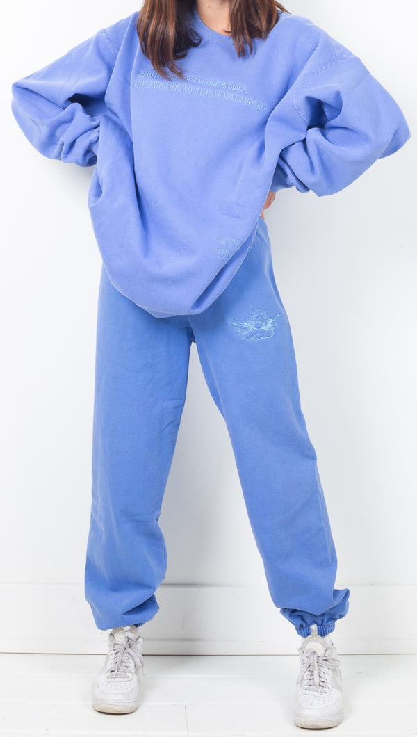 Boys Lie Blue High Rise Oversized Sweatpants With Embroidered Angel