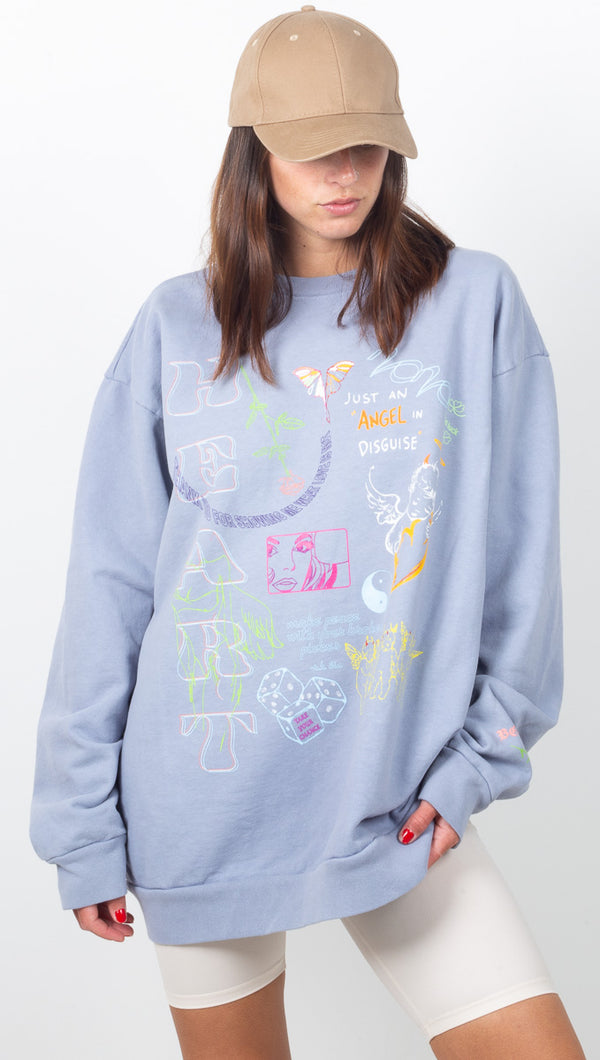 Word Vomit Sweatshirt - Marble Blue Grey