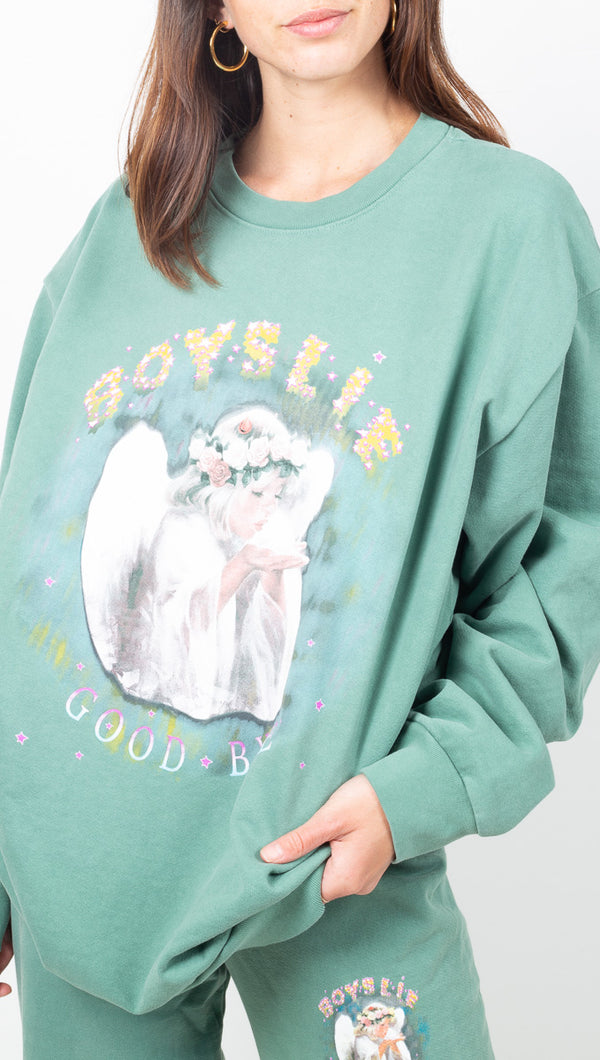 Boys Lie Light Green Oversized Crewneck Sweatshirt With Angel Graphic