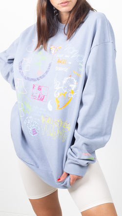 Boys Lie Light Blue Oversized Crewneck Sweatshirt With Front and Back Graphics