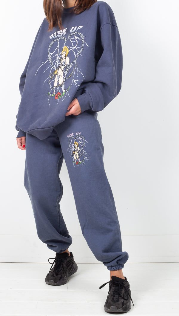 Boys Lie Blue High Rise Oversized Sweatpants With Small Front Graphic