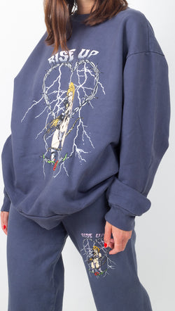 Boys Lie Dark Blue Oversized Crewneck Sweatshirt With Front and Back Graphics
