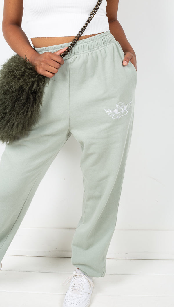 Boys Lie Light Green High Rise Oversized Sweatpants With Angel Graphic