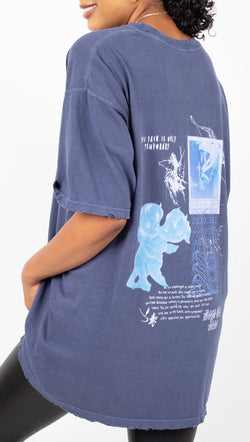 Boys Lie Navy Blue Oversized Tee With Abstract Graphics
