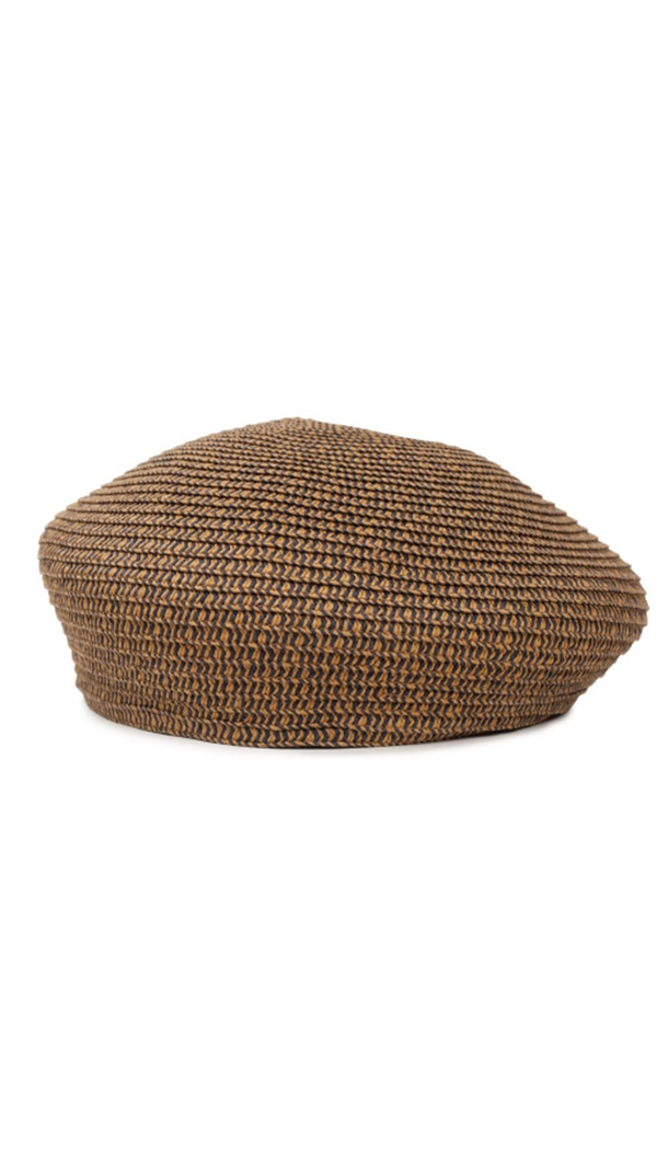 Brown Straw Beret