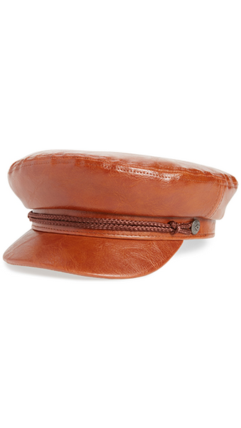Brixton Brown Faux Leather Fiddler Cap