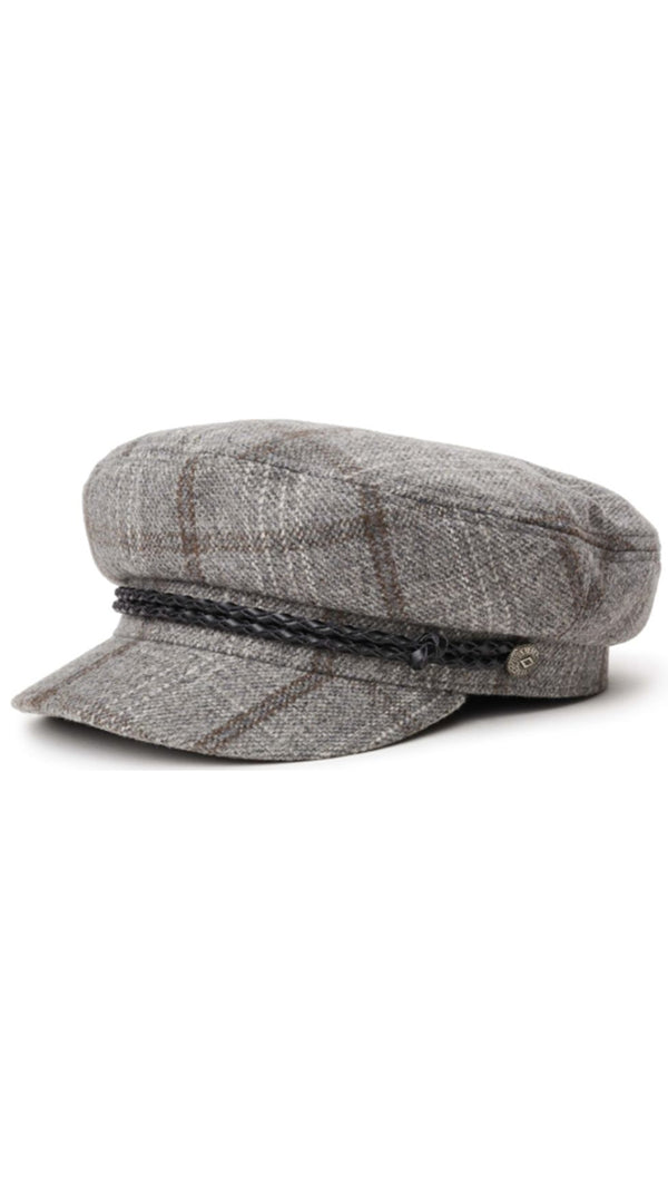 Brixton Grey Plaid Fiddler Cap