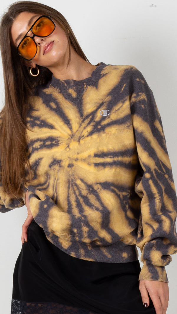 Vintage Champion Sweatshirt - Grey/Yellow Tie Dye