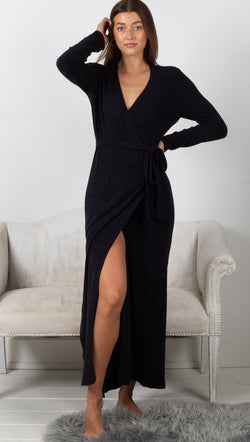 CozyChic Ultra Lite L/S Wrap Dress - Black