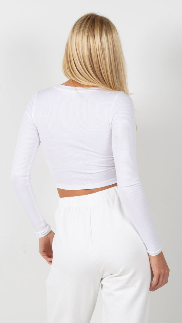 Ribbed V Neck Long Sleeve - White