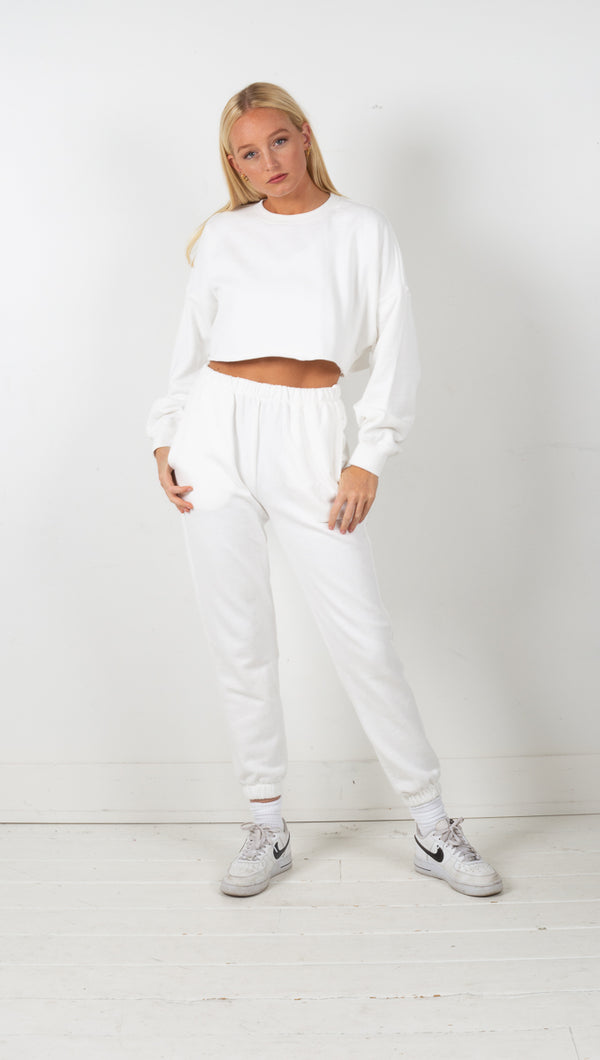 Catalina Crop Sweatshirt - White