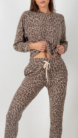Emilie Leopard Matching Set - Taupe/Brown