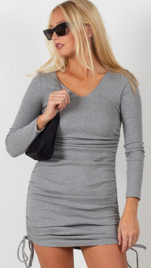 Ribbed Ruched Mini Dress - Heather Grey