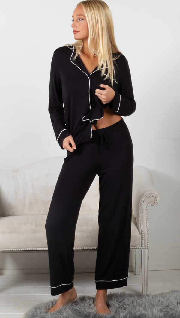 Luxe Milk Jersey Piped Pajama - Black