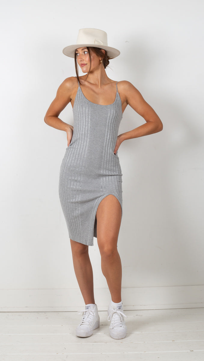 Strappy Knit Dress - Grey