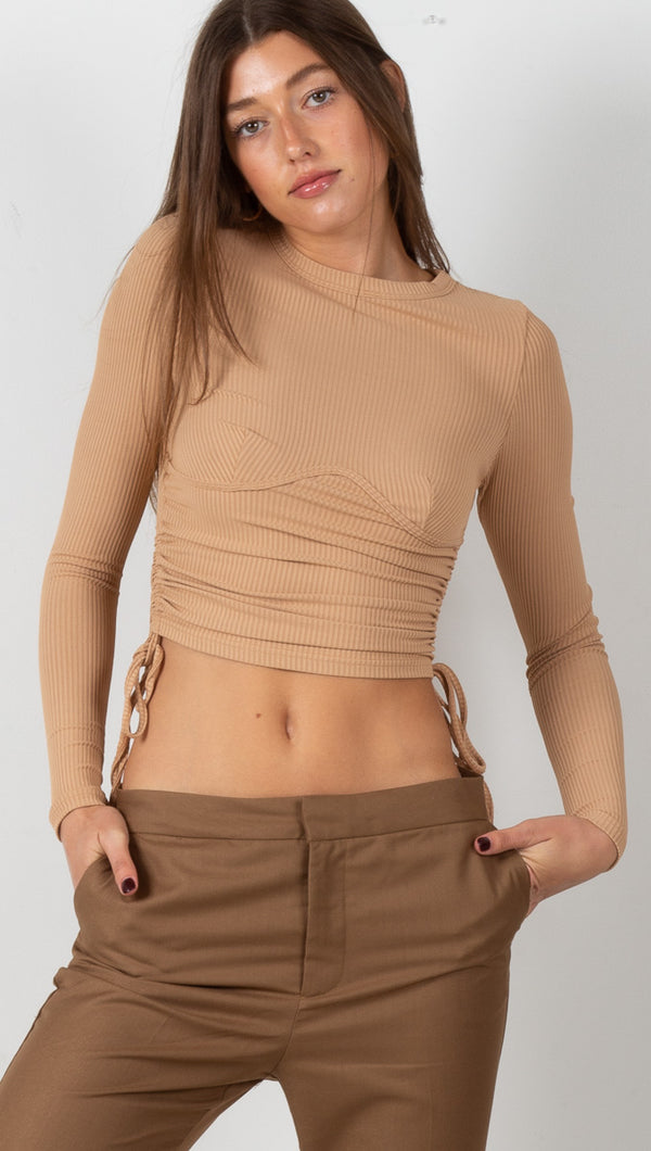 Sienne Ruched Long Sleeve - Camel