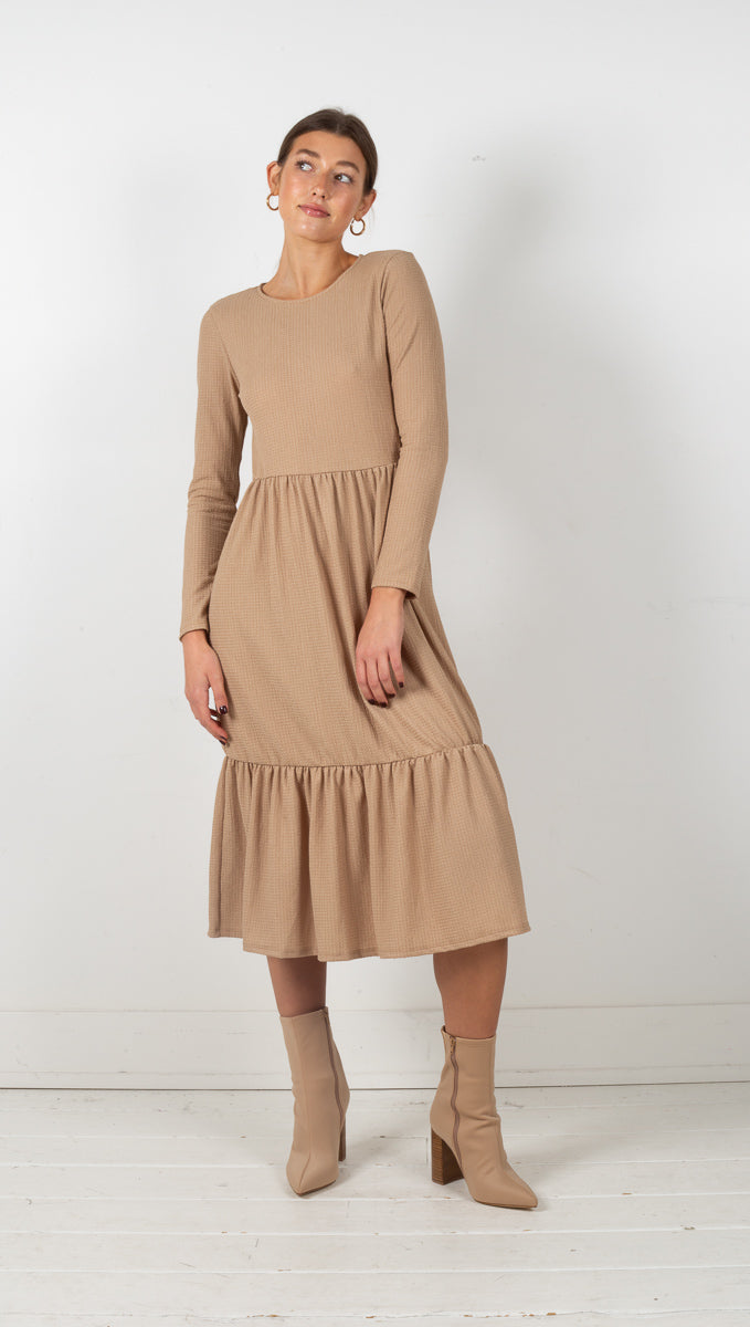 Tara Long Sleeve Midi Dress - Taupe