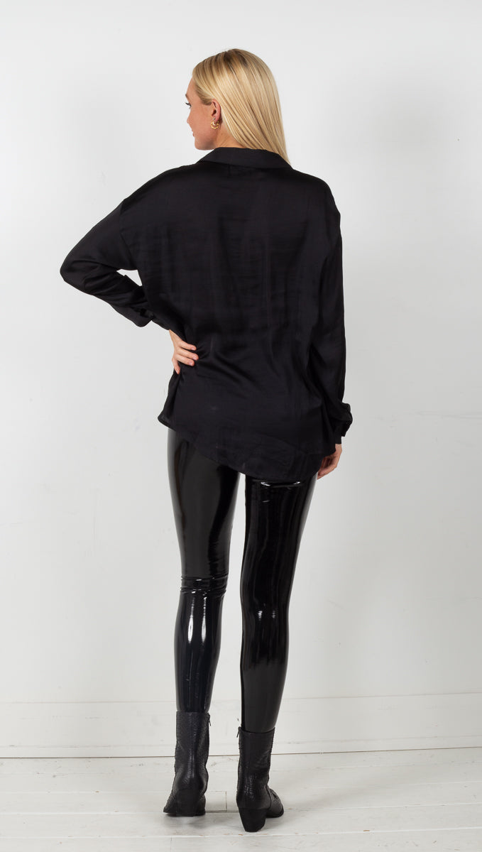 Essential Collared Satin Shirt - Black