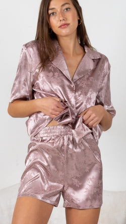 Fleur Satin Sleep Set - Purple