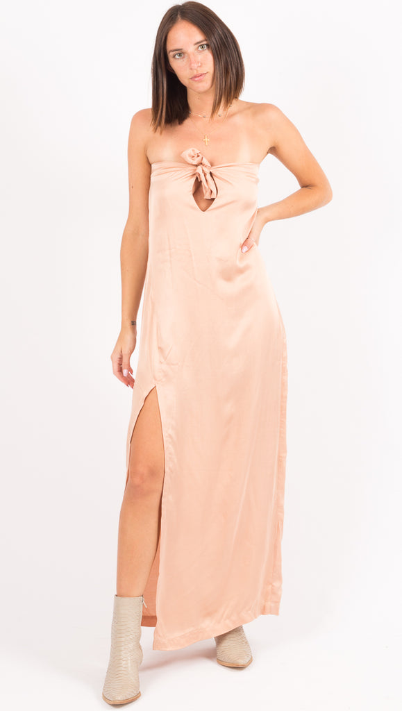 Cali Dreaming Pink Strapless Maxi Dress