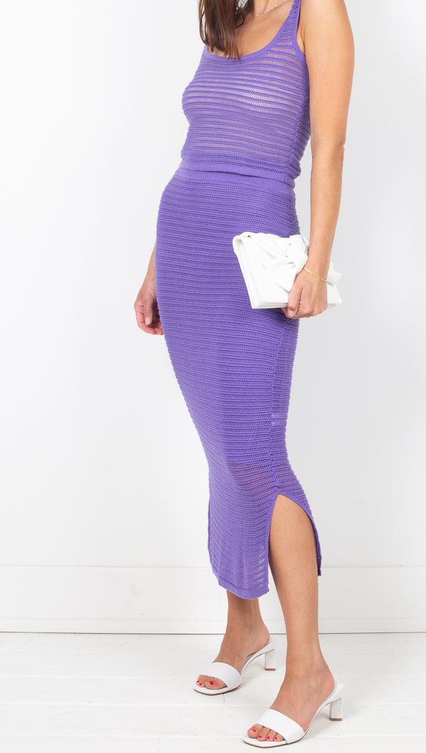 Callahan Purple Knit High Rise Midi Skirt