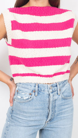 Callahan Pink Striped Boatneck Knit Crop Top