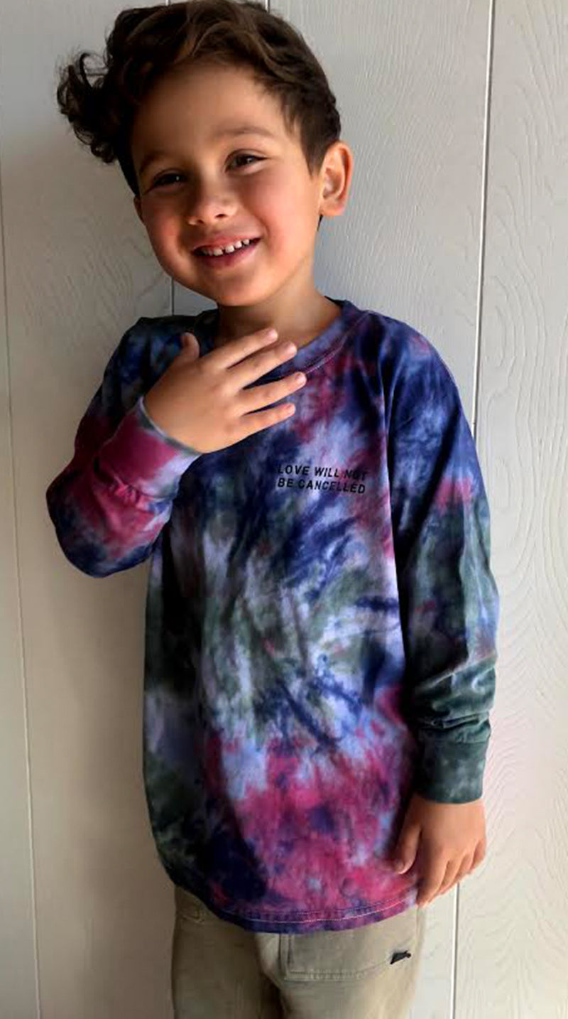Love Will Not Be Cancelled Kids Long Sleeve Tee - Jewel Tone Tie Dye