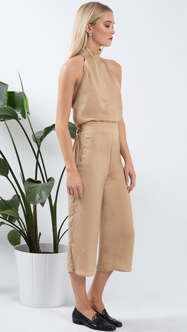 VDV the Label tan satin wide leg pant