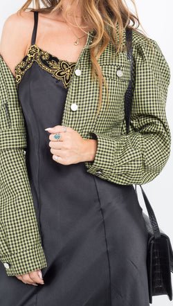 Capulet green/black gingham cropped jacket