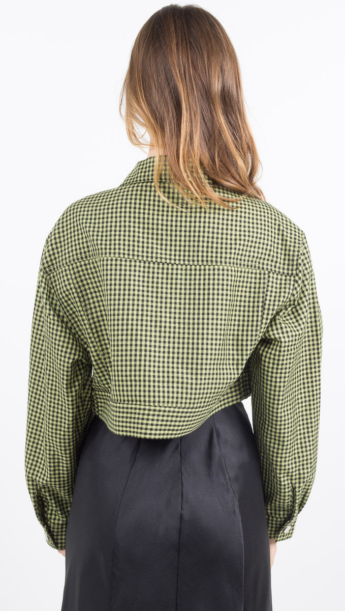 Belle Cropped Trucker Jacket - Matcha Gingham