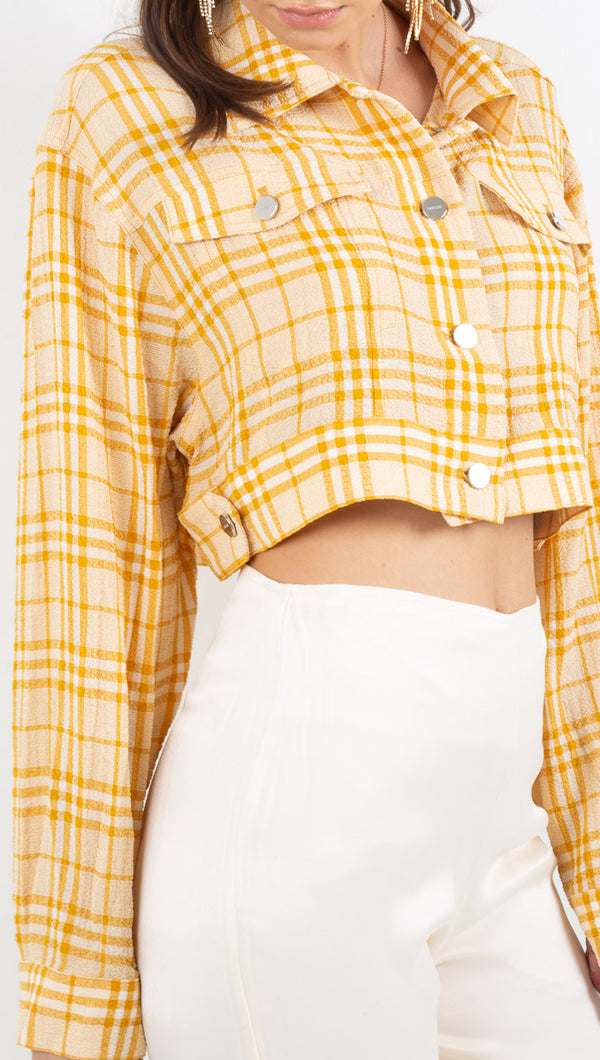 Belle Cropped Trucker Jacket - Sungold Plaid